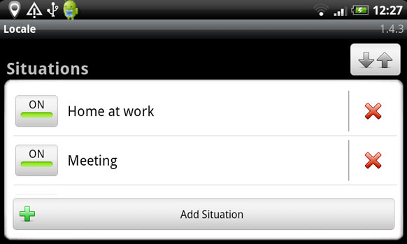 Locale ringer control Android app screenshot